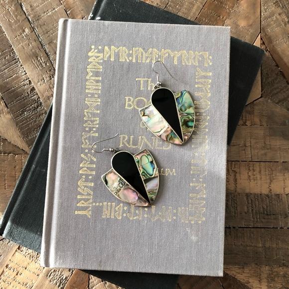 Alpaca Mexico Silver Abalone Onyx Fan Earrings